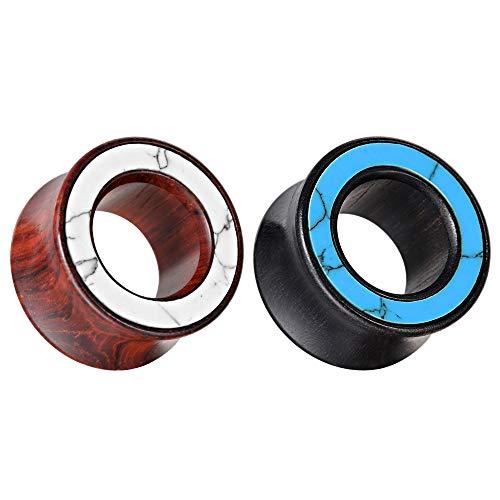 COOEAR 2 paia di calibri per le orecchie in legno Doppio tunnel per le orecchie svasato e tappi per orecchini a forma di cerchio con conchiglia.