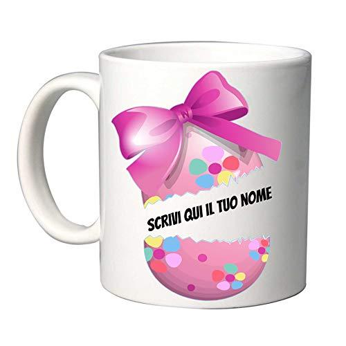 Tazza da regalo - Per Pasqua - con scritta simpatica e personalizzabili (Uovo)