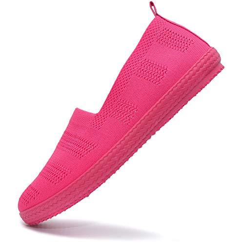 Vain Secrets Damen Sommer Slipper Ballerina sportliche Espadrilles Sneaker Freizeit Schuhe in 5 Farben (Pink, Numeric_39)