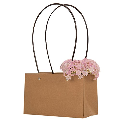 20piezas de bolsa para bodas en cartulina Kraft con asas de plástico impermeable porta maceta para plantita flor regalo 22*10*13.5+20.5cm
