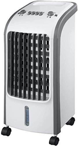 SPICOM - Air Cooler Fan - 4L Water Tank with Ice Boxes - Anti Dust Filter - 3 Speed Setting with 180° Oscillation - Cooler Purifier on Wheels (White with Grey Trim)