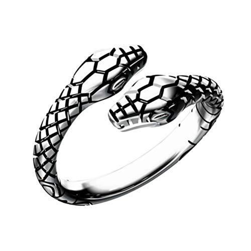 Anillo de doble serpiente vintage anillo abierto nudillo anillo moda gótico anillo joyería accesorios para mujeres y niñas