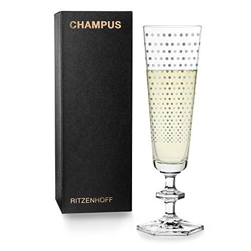 RITZENHOFF 3520002 Verre Champagne Noir Blanc