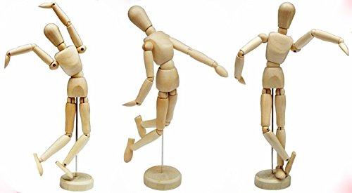 3 x 12inch Artists Wooden Manikin Male Figure Craft Moveable Adjustable Art Mannequ
