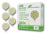 5 unidades de lámparas LED greenandco® G4 / 2,4 vatios / 150 lúmenes / 3000 K (blanco cálido) / 12 x 5050 SMD LED / 120° ángulo de dispersión / 12 voltios DC