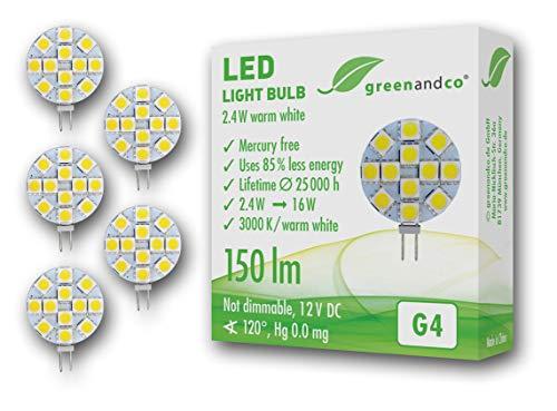 5x greenandco® LED Lampe ersetzt 15-20 Watt G4 Halogenlampe, 2,4W 150 Lumen 3000K warmweiß 12 x 5050 SMD LED 120° 12V DC, nicht dimmbar, 2 Jahre Garantie