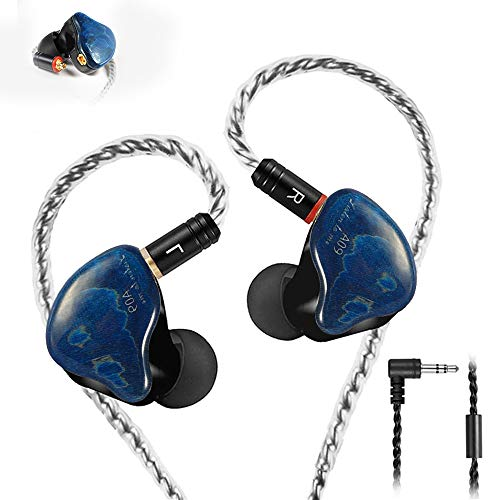 Famedy in-Ear Monitors in Ear Headphone Earbuds Wired Earphone Dual Drivers Headphone with MMCX Detachable Cables,Noise-Isolating Earbud for Musicians Sweatproof Headphone (Blue Solid Wood)