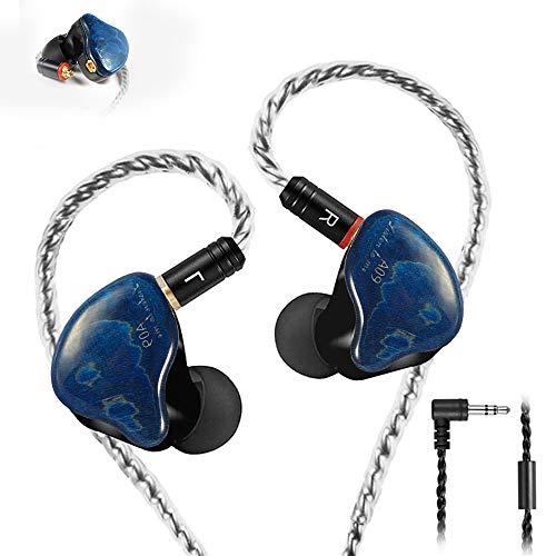 Monitores en la Oreja, Auriculares de botón con Cable, Controladores duales con Cables Desmontables MMCX, Auriculares IEM con cancelación de Ruido para músicos Cantantes Bateristas (Azul)