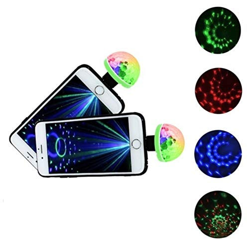WOO LANDO Handy Disco Bal, USB-aansluiting incl. Micro USB-adapter voor Samsung Handies, 4W, RGB LED Disco Ball. Stage Effect Party Club DJ Light ...