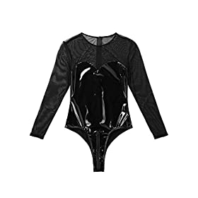 LiiYii Women One Piece Mesh Sheer Leather Spliced Long Sleeves Leotard Bodysuit Clubwear