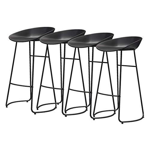 AYU Bar Stools Set of 4 pcs Barstools Black Breakfast Kitchen Counter Bar Chairs Metal Leg in Black, PP Plastic Seat, Seat Height 25.6inch/27.5inch/29.5inch