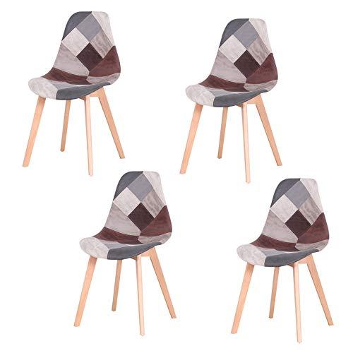 sweethome Silla de comedor tapizada con patas de madera duraderas para cocina,...