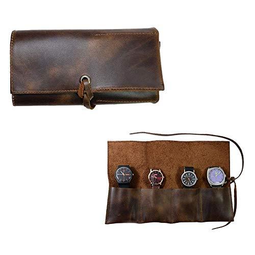cineman Leder-Schmuckrolle, kleine Reisetasche mit Seil, handgefertigtes Leder Uhrenorganizer Rolltasche tragbar