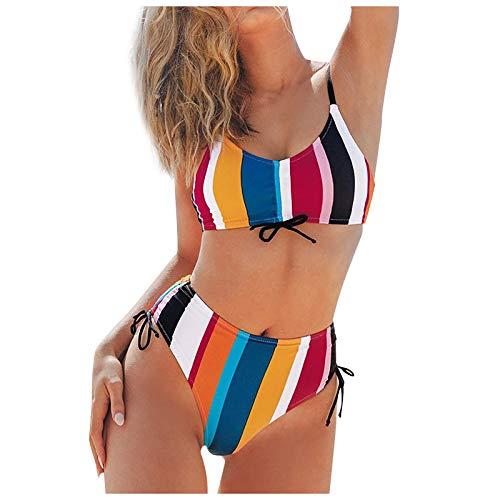 YANFANG Bikini de Traje de baño Dividido de Cintura Alta con Estampado de Rayas Sexy a la Moda para Mujer