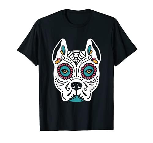 Perro Sugar Skull Pitbull Halloween Day of the Death Camiseta