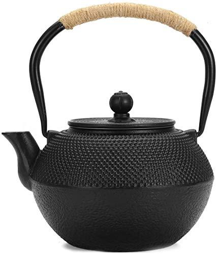 Bouilloire induction Pot en fonte Pot de fer non revêtue Théière en fonte en fonte Tea 1,2L Ensemble de thé bouillonnement ancien pot de fer noir 9x19cm WHLONG