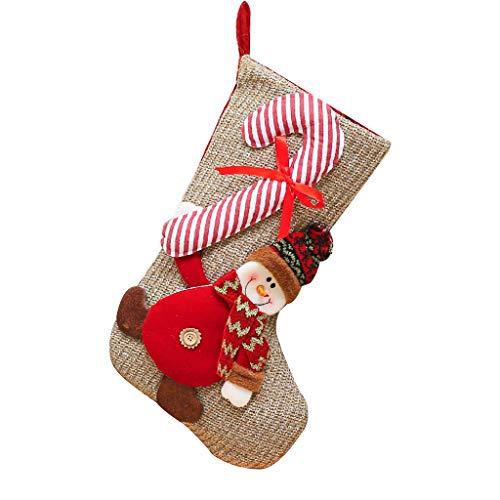 Hainan - Calcetines de Papá Noel personalizados, diseño de Papá Noel, muñeco de nieve, reno, árbol de Navidad, decoración de chimenea, calcetines personalizados para invierno para mujer