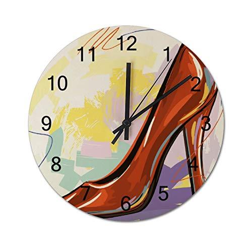 High Heels Clip Art Schuh Wanduhr leise Holz Design Digital Wanduhr Dekor Rund Nicht tickend für Wohnzimmer Schlafzimmer Wanduhr 30,5 cm