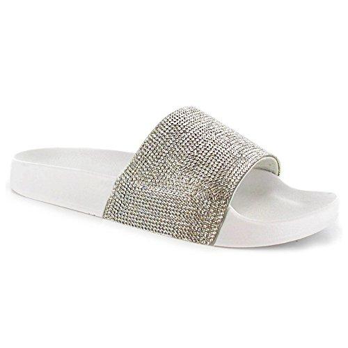 SUGAR ISLAND Celebrity Style Damen Damen Glitzer Diamante Flip Flops Schieberegler Hausschuhe Hausschuhe Pantoletten