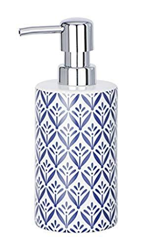 WENKO Dosificador de jabón Lorca azul - Dispensador de jabón líquido Capacidad: 0.36 l, Cerámica, 8.5 x 18 x 7 cm, Azul