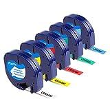 Unistar Kompatibel Etikettenband als Ersatz für Dymo Letratag Plastic Etikettenbänder