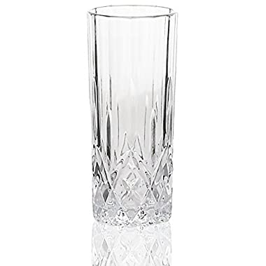 Lead-Free 8oz Heavy Base, High Ball Water and Beer Glasses, Tumbler Beverage Set, Set of 6