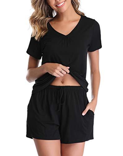 Vlazom Pijamas para Mujer Verano 95% Algodón de Pijama Mujer Corto Suave y Transpirable, Ropa de Dormir de Camiseta con Pantalones Cortas S-XXL
