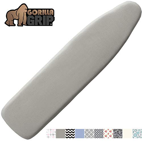 GORILLA GRIP Reflective Silicone Ironing Board Cover, 15x54, Velcro Straps, Fits Large and Standard Boards, Pads Resist Scorching and Staining, Elastic Edge, Thick Padding, No Fasteners Needed, Silver
