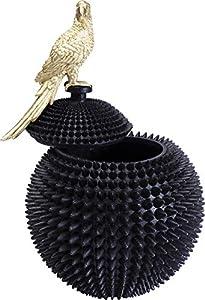 Kare Design Deko Dose Parrot, wunderschöne XXL Aufbewahrungsdose, Schwarzes Gefäß mit goldenem Vogel, Dekodose Schwarz-Gold, Moderne Vorratsdose mit Deckel, (H/B/T) 40x26x26cm