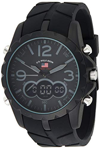 U.S. Polo Assn. Sport Herren US9287 Armbanduhr mit schwarzem Gummiband