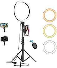 """12"""" Selfie Ring Light with 62"""" Adjustable Tripod Stand and Phone Holder, LED Dimmable Ringlight with Remote, for Live Stream/Photography/Makeup/YouTube Video, Compatible with Cell Phones, Cameras"""