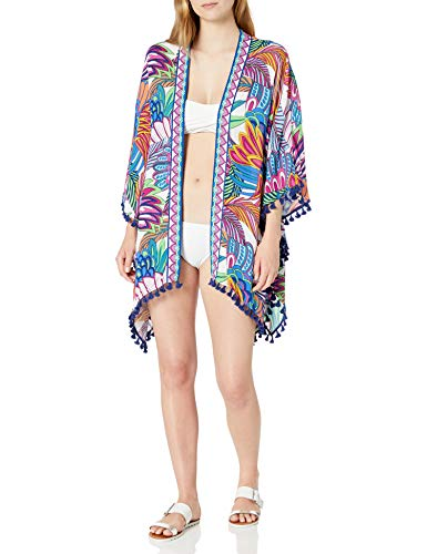 Trina Turk Women's Kimono Swimsuit Cover Up, Multi//Paradise Plume, One