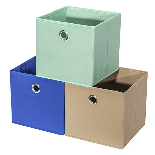 StorageManiac Set de 3 cajas plegables de almacenaje, Color azul, marrón y verde