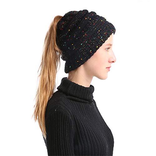 Yaogroo Damen Mädchen BeanieTail Gestrickt verdicken Hut Mit Zöpfen Loch Loop Strickschal Strickmütze Wintermütze (schwarz)