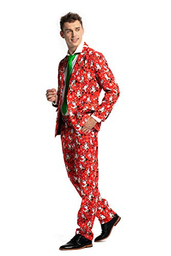 U LOOK UGLY TODAY Mens Christmas Costumes Suit Funny Bachelor Party Suit Jacket with Tie