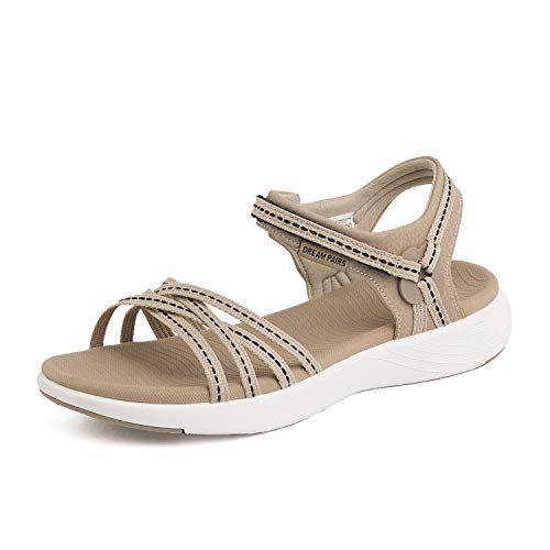 DREAM PAIRS Womens Athletic Sports Sandals Lightweight Hiking Sandals Beige Size 9.5 M US 181102