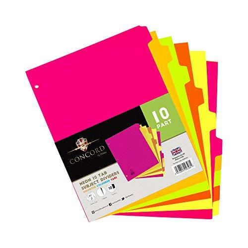 Pukka Pad, Concord, 10 Dividers, Binder Notebook File Page Separators, 1 Pack of 10 Tab Set, 8 ½ x 11 In. Neon Colors