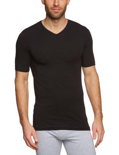 Schiesser Herren Shirt 1/2 Arm Unterhemd, Schwarz (000), 6 (L)