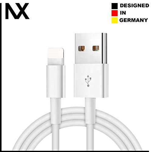 NX® Ladekabel/Lightning/Kabel 1m für iPhone 11/11Pro/11Pro MAX/XS/XS Max/XR/X/ 8/8 Plus/SE/ 7/7 Plus/ 6s/ 6/6 Plus/ 5S/ 5/ iPad Pro Weiß