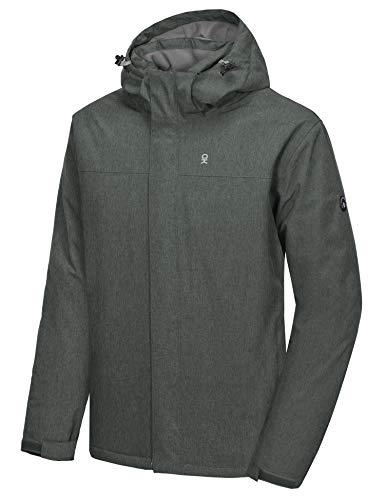Little Donkey Andy Chaqueta de esquí y snowboard impermeable para hombre, resistente al viento, abrigo cálido con capucha desmontable, Hombre, gris, extra-large