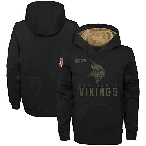 Pullover Minnesota Vikings American Football Trikot, Herren Hoodie Rugby Jersey Langarm Sportswear Herbst und Winter mit Kapuze-Black-XL