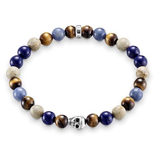 Thomas Sabo Damen Herren-Armband Rebel at Heart Totenkopf 925 Sterling Silber blau natur braun Länge 17 cm A1532-926-7-L17