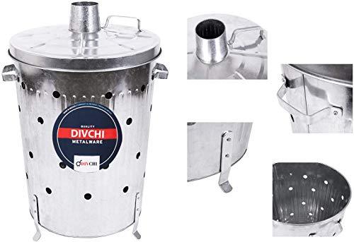 DIVCHI - Poubelle de cuisine ou rangement de jardin en métal coloré avec couvercle verrouillable (galvanisé) - 75l - Taille XL