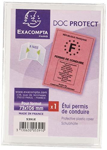 Exacompta 5391E Etuis pour Permis de Conduire Européen Format en Polypro, Cristal,
