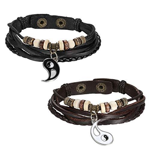 JewelryWe Gioielli Collana Bracciali Disegno Yin Yang Tai Chi Cinese da Uomo Donna Coppia Amanti Amicizia in Pelle e Acciaio Inossidabile