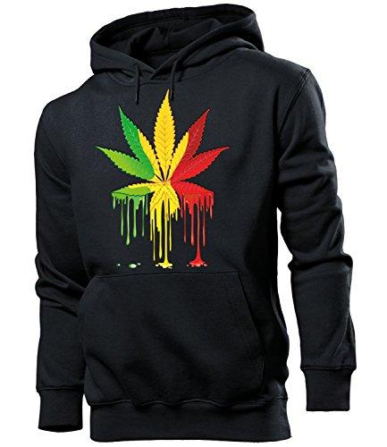 Golebros Reggae Cannabis 5340 Herren Männer Hoodie Herren Kapuzen Pullover Sweatshirt Pulli Gras Cannabis Drogen Geschenk Artikel Marihuana Drug Dope Kiffer S