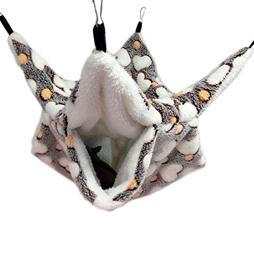 NEWW Small Animals Winter Playing Hut Warm Hanging Sleeping Bunkbed Parrot Hammock Hamster Bed Pet Tent(S,Coffee)