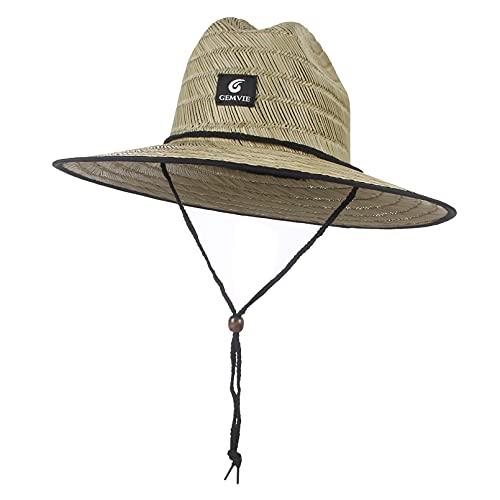 GEMVIE Sombrero Paja Hombre para Verano de Sol Playa ala Ancha Sombrero de Campo Panamá Sombrero de Paja Mujer para Adulto