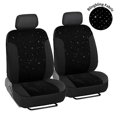 Leadpro 2 Front Car Seat Covers, Blingbling Velvet Breathable Fabric Sedan Seat Cover, Universal fit for Most of Sedan/SUV/Truck/Minivan, Super Easy Installation - Airbag Compatible