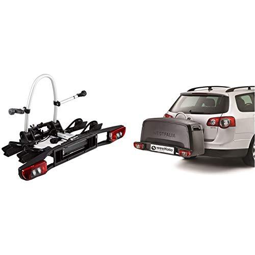 Westfalia BC 60 (Modell 2018) Fahrradträger für die Anhängerkupplung inkl. Tasche - Klappbarer Kupplungsträger für 2 Fahrräder & Transportbox für Fahrradträger - Praktische Gepäckbox (wasserdicht)